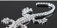 Wholesale Crystal Sticker Decals - 3D Metal Car Sticker Emblem Badge Decal Auto Decoration Sticker personality Metal auger Diamond crystal gecko car stickers