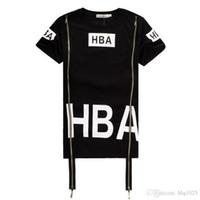 Wholesale Spinal Air - Men Fashion Hip Hop T- Shirt Zipper Side HBA Hood By Air Harajuku t shirts for men Spinal Cord X-ray Streetwear Tees free shipping