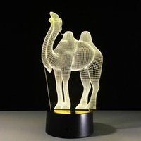 Wholesale Camel Cartoon - Christmas Gift USB moon night light camel shaped LED 7 colors change acrylic touch control kids bedside USB table lamp