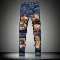 Wholesale Union Jacks Pants - Wholesale- 2015 spring high quality Union Jack Patch denim washed jeans men casual slim American Flag jeans for men size 28-36,NZ68