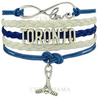 Wholesale Maple Leaf Charms Wholesale - (10 PCS Lot) Infinity Love Toronto Hockey Bracelet Maple Leafs Hockey Fans Blue White Wax & Leather Bracelet Custom Dropship