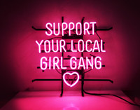 Wholesale Glass Gang - New Tat tire Neon Beer Sign Bar Sign Real Glass Neon Light Beer Sign ME 692-support your local girl gang 18x16 001