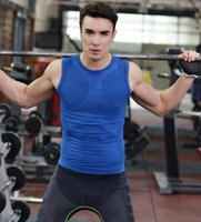 Wholesale Excercise Shirt - 2017 Summer Vests Men Compression Vest Tight Base Layer Fitness Excercise Mens vest Sleeveless Shirts S-XXL