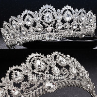 Wholesale High Wedding Crown - Luxury Bridal Crown Cheap but High Quality Sparkle Beaded Crystals Roayal Wedding Crowns Crystal Veil Headband Hair Accessories Party Tiaras