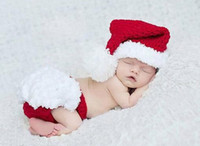 Wholesale Hats Props Newborn - NEWBORN baby 100 days angle Christmas clothing sets photo props kids infant children boy girl funny joy clothes hat pants Xmas