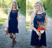 Wholesale Cheap Lace Dress Knee Long - Cheap Country Bridesmaid Dresses 2017 For Weddings Illusion Neck Chiffon Lace Navy Blue Sash Party Knee Length Maid Honor Gowns Under 100