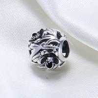 Wholesale Pandora Charms Fairy - Real 925 Sterling Silver Not Plated Fairy Blossom flower Beads CZ European Charm Bead Fit Pandora Snake Chain Bracelet DIY Jewelry