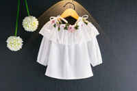 Wholesale little korean girl clothes - New Girls Shirt Embroidery Flower Ruffle Braces Tops 2017 Kids Boutique Clothing Korean High Quality Little Girls Off Shoulder Shirts 2Style