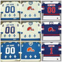 старые трикотажные изделия хоккей ccm оптовых-Мужские трикотажные изделия Quebec Nordiques с любым именем mn Vintage ccm старые трикотажные изделия для хоккея Персонализированные все сшитые дешево