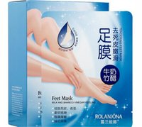 Wholesale ROLANJONA feet mask Milk and Bamboo Vinegar Feet Mask skin Peeling Exfoliating regimen for Feet care