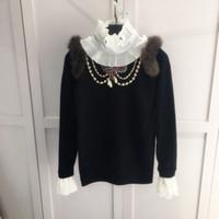 Wholesale Long Ruffle Sweater - Black Women's Sweaters 2017 Ruffles Collar Crystals Beading Women's Sweaters Brand Same Style Pullovers Women M061730