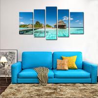 foto de la isla al por mayor-5 combinación de imagen arte de la pared la imagen para decoración del hogar Maldivas isla tropical con playa villas playa vista
