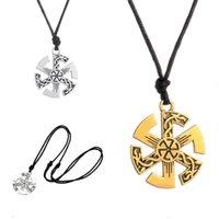 Wholesale Dropship Pendants - Wholesale- Ethnic Fashion Jewelry Dropship Men Pendant Kolovrat Slavic Pendant Necklace Talisman Sun Bayan Kolye