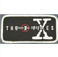 """Wholesale Wholesale Christmas Iron Appliques - 4"""" THE X FILES PATCH Movie TV Series Costume Cosplay Halloween Embroidered Emblem applique iron on patch white christmas x'mas"""