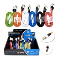 Wholesale Wholesale Mobile Display - 3FT Metal Flat Noodle Micro USB Cable 2A Data Sync Fast Charging Adapter Cords for Mobile Phone Android V8 & Tablet Get Free Display