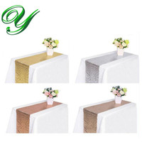 Wholesale Table Linens Skirt - Gold sequin linens table runner skirt silver wedding party Christmas decoration ornament 12*108'' 70'' covers wrapping gifts table overlay