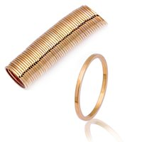 Wholesale Thin Gold Jewelry - 1pc Yellow White Gold Plated Simple Circle Rings Brief Thin Midi Knuckle Top Finger Ring for Women Fashion Jewelry 14 15 16mm