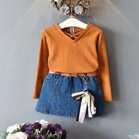 Wholesale Kid Pencil Skirts Dresses - Girls boutique outfits Children Dress Suits cotton long sleeve T-Shirt + Denim Skirts Pencil Skirts 2pcs Kids Sets Kids Clothing A1074