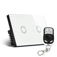 ingrosso interruttore a parete nero-All'ingrosso-Stati Uniti, UE, Regno Unito Standard, Black White Switch 2 Gang Smart, Touch Switch con LED, Smart Home Automation, Interruttore a muro remoto in cristallo