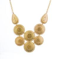 Wholesale Collier Punk - Fashion Vintage Choker Necklace for Women Statement Colar Necklaces & Pendants Punk Metal Round Gold Color Jewelry Maxi Collier