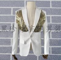 Wholesale Design Dance Pants - men gold sequin suits designs homme terno stage costumes personalized singers men blazer dance clothes jacket dress punk white