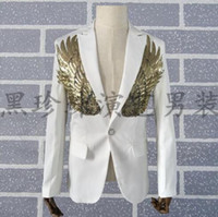 Wholesale Gold Sequin Dance Dresses - men gold sequin suits designs homme terno stage costumes personalized singers men blazer dance clothes jacket dress punk white