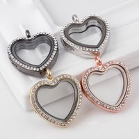 Wholesale glass lockets jewelry making resale online - Hot sale Heart memory Opening Magnetic Lockets white Crystal MM Floating Glass Pendant charms without Chains For necklaces Jewelry making