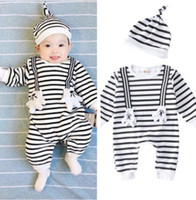 Wholesale Baby Headbands Appliques - Toddler romper newborn stripe cute rabbit long sleeve romper+swaddle hat 2pcs sets autumn baby boys girls gloves applique jumpsuits R0524