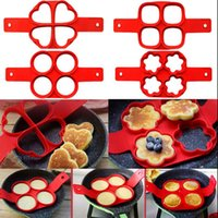 Wholesale Silicone Pancake Mold Pancake Pan Flip NonStick Cavity Heart Round Flipping Pancake Mold Breakfast Maker Egg Omelette Tools OOA1476