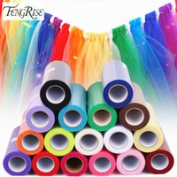 Wholesale Organza Fabric Wholesale Rolls - Wholesale- FENGRISE 15cm 25Yards Organza Fabric Roll DIY Artificial Flowers Wedding Car Birthday Decoration Tulle Rolls Pom Poms Party Gift