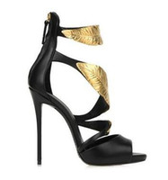 Wholesale Clay Leaves - 2017 Summer Arrival Fashion Luxury original Brand Genuine Leather Women's Lady Nightclub sexy heel golden leaves Sandals Plus Size Clearance