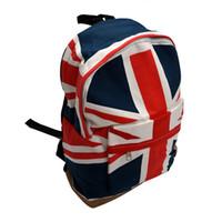 Wholesale Uk Backpack Bags - Wholesale- Womens Mens School Book Campus Bag Backpack Satchel UK Flag Pattern