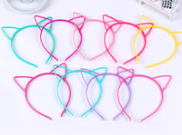 Wholesale Tiara Cat Ears - 10 Mixed Color Plastic Cat Ear Hair Tiara Princess Headband Hair band With Teeth