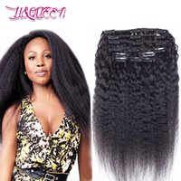 Cabelo humano Peruvian kinky Straight Clip em extensões de cabelo Yaki 100% Natural Queen Beauty Hair 100g / lot 10-28 Inches