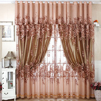 Wholesale Wholesale Curtain Fabric - Home Textile Window Curtain Floral Peony Burnout Classic Fabric Tulle Voile Sheer Curtains For Living Room Bedroom 100*250cm