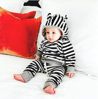 Wholesale Toddler Boy Striped Pants - New Baby Boys Girls Clothing Striped Clothes Set Kids Sport Tracksuit Hoodie Tops T-Shirt+Cotton Pants Toddlers Boys Girls Clothing Sets