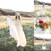 Wholesale Vintage Garden Wedding Evening Dress - sexy-open-back-lace-evening-dresses-with-long-sleeves-big-bow-plus-size-sash-2017-vintage-garden-western-country-bridal-wedding-gowns-cheap