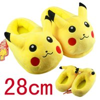 Wholesale Fluffy Animal Slippers - 2016 Funny Adult Slippers Women and Men Pikachu Slippers Plush Non-slip Cotton Fur Fluffy Home Slippers