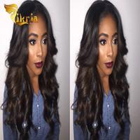pelucas indias vírgenes de la mejor calidad al por mayor-La mejor calidad indio malasio virginal del pelo humano pelucas delanteras del cordón del pelo de la onda del cuerpo pelo peruano brasileño peluca llena del cordón de seda base