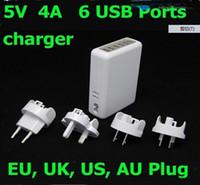 samsung mobiles yeni gelenler toptan satış-Yeni varış 6 USB Portu Duvar Şarj 5 V 4A Güç Adaptörü W / AB / AU / ABD / İNGILTERE Tak Tablet PC cep telefonu için 50 adet / grup