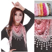 Wholesale Triangle Lace Scarves - New Women's Soft Lace Triangle Wrap Shawl Chiffon Scarf Long Voile Stole Scarves G392