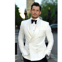 Wholesale white dinner jacket black shawl - 2017 High Quality Ivory Mens Suits Groom Tuxedos Groomsmen Wedding Party Dinner Double Breasted Best Man Suits (Jacket+Pants+Tie)