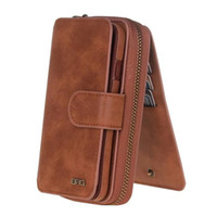 Wholesale iphone leather case zipper - Wallet Case Leather Zipper Purse For iPhone7plus 6s 6plus iphone55SSE Galaxy S7 S7 edge Multifunction Handbag Magnetic Case Flip Card Holder