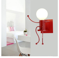 Wholesale red country lamp resale online - Novelty dolls led kids light for children room red white color paint metal wall light sconces modern Wrought Iron wall lamp abajur LLFA