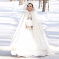 Wholesale Woman Winter Coats Cheap - Elegant Cheap 2017 Warm Bridal Cape ivory White Winter Fur Coat Women Wedding bolero Jacket Bridal Cloaks Plus Size Wedding Coat