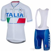 Wholesale Cycling Bibs Italia - 2017 Italia Cycling Jerseys Set Short Sleeves Blue White Colors With Gel Padded Bib None Bib Pants Size XS-4XL Bike Wear