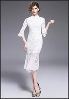 Wholesale Tight Sleeve Wedding - Mrmate Trumpet   Mermaid Dress Women Knee-Length Bodycon Lace Crew Neck Flare   Bell sleev Sleeve Dresses Catwalk Wedding Sexy Tight Clothes