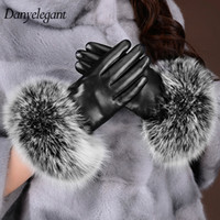 Wholesale Fiber Fox - Wholesale- 2017 New Arrival Sheepskin Gloves Women's Winter Thickening Thermal Fox Fur Genuine Leather Touch Screen Gloves