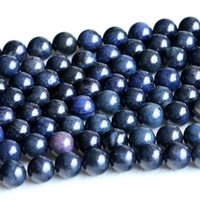 """Wholesale 12mm Jade Round Beads - Discount Wholesale Natural Genuine Dark Blue Dumortierite Round Loose Stone Beads 4-12mm DIY Jewelry Necklaces or Bracelets 15.5"""" 05236"""