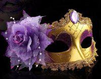 Wholesale Paint Ball Masks - Makeup Ball Painted Mask Side Flower Bead Pendant Face Mask Venetian Mask G729